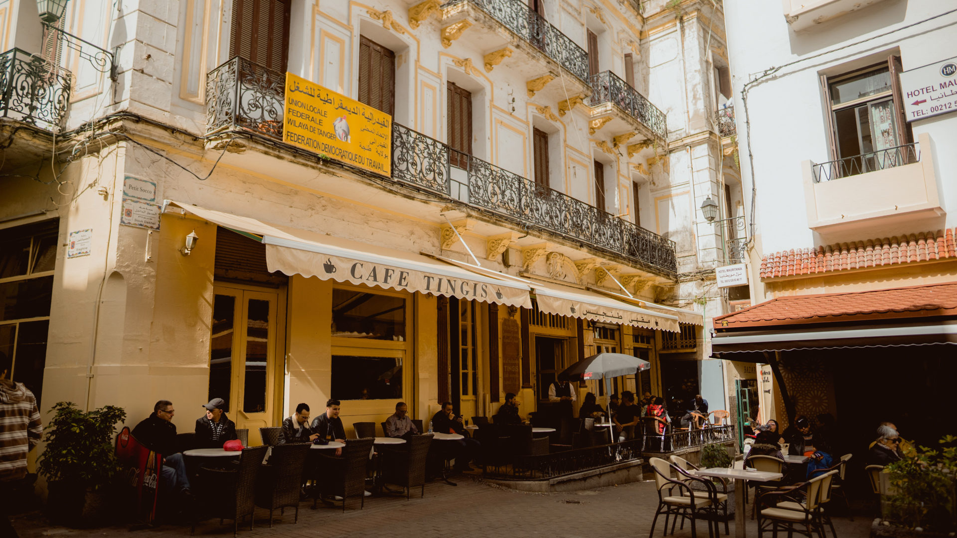 Café Tingis to the left and Café Central to the right.